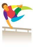 PARKOUR jonge mens die over hindernis springen Stock Foto
