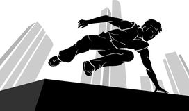 Parkour Jump Silhouette Stock Photo