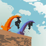 Parkour jumper silhouettes Royalty Free Stock Images