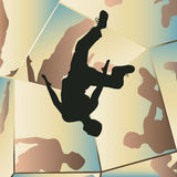 Parkour mirrors. Editable vector illustration of a young man somersaulting with mirror reflections Stock Photography