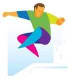 PARKOUR o atleta que salta com uma volta ilustração do vetor