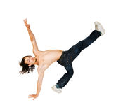 Parkour performer on white background Royalty Free Stock Image