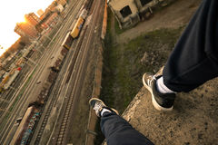 Parkour runner by railway track Stock Images