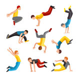 Parkour tricks extreme sport people vector silhouette Stock Photography