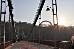 Parkovy步行桥,位于基辅,乌克兰 库存照片