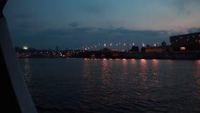 Parkovy Bridge over Dnieper River in Kiev, Ukraine stock video footage