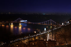 Parkovy Bridge over Dnieper River in Kiev, Ukraine Stock Photo