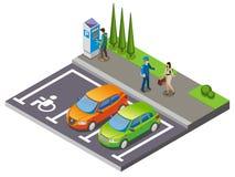 Parkować Isometric skład ilustracja wektor
