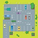 Parkować plan z samochodem i strzała wektor ilustracja wektor