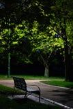 Parkowa ławka przez drzew przy nocą obraz stock