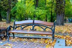 Parkowa ławka w jesieni Obraz Royalty Free
