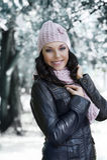 parkowa dziewczyny zima zdjęcie royalty free
