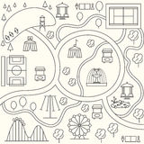 Parkowa mapa w konturu projekta stylu wektor Zdjęcia Stock