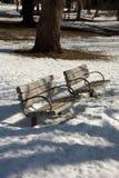 Parkowe ławki Fotografia Royalty Free