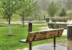 Parkowe ławki w deszczu Obraz Royalty Free