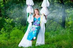parkowi kobieta w ciąży Obrazy Royalty Free