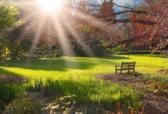 parkowy ławka zmierzch Obrazy Royalty Free