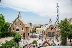 Parkowy guell i Barcelona Zdjęcia Stock