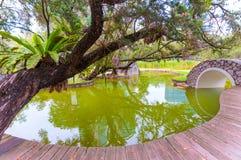 Parkowy staw z drewnianym przejściem Fotografia Royalty Free