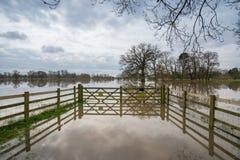 Parkowy teren zalewał w UK podczas zimy widzieć przez bramy Zdjęcie Stock