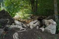 Parkowych krajobrazowych kamieni mech drzewni liście zamykają - up obrazy stock