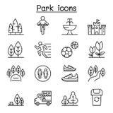 Parkpictogram in dunne lijnstijl die wordt geplaatst stock illustratie