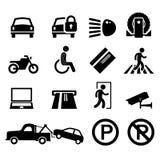 Parkplatz-Parkplatz-Zeichen-Symbol-Piktogramm-Ikone stock abbildung