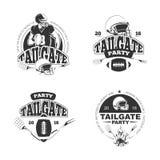 Parkplatz-Party-Weinlese des amerikanischen Fußballs beschriftet Vektorsatz Stockfotos