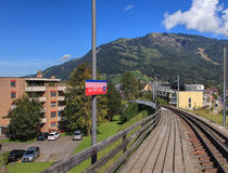A4 Parkplatz station of Rigi Railways rack railroad Royalty Free Stock Images