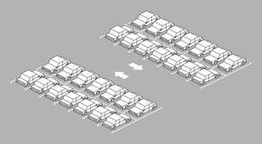 Parkplatz voll mit Pfeil auf Straße Stockfoto