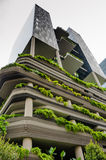 PARKROYAL Hotel in Singapore. SINGAPORE -  FEBRUARY 1, 2015: PARKROYAL Hotel is a beautiful, award-winning eco-conscious building with lofty, lush tropical Royalty Free Stock Photos