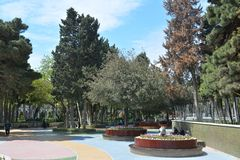 Parks of Baku city, Fountain Square Royalty Free Stock Photo