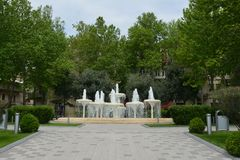 Parks of Baku city, fountains Royalty Free Stock Photos