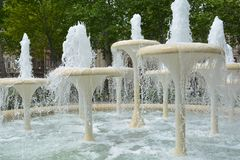 Parks of Baku city, fountains. Fountains in parks of Baku Stock Images