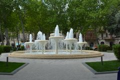 Parks of Baku city, fountains Stock Photo