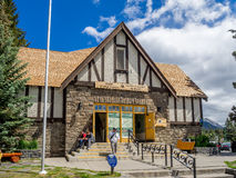 Parks Canada Info Centre. Historic Parks Canada Info Centre on Banff Avenue  on June 19, 2015 in Banff National Park, Alberta, Canada. Banff Avenue is the Stock Photos