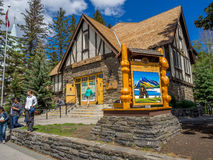 Parks Canada Info Centre. Historic Parks Canada Info Centre on Banff Avenue  on June 19, 2015 in Banff National Park, Alberta, Canada. Banff Avenue is the Stock Photography