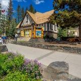 Parks Canada Info Centre. Historic Parks Canada Info Centre on Banff Avenue  on June 19, 2015 in Banff National Park, Alberta, Canada. Banff Avenue is the Stock Image