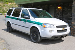 Parks Canada Park Wardens car in Banff National Park in Banff, Alberta, Canada Stock Images