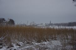 On the parks edge in Helsinki. A winters day in the park Royalty Free Stock Image