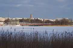 On the parks edge in Helsinki. A winters day in the park Stock Photography