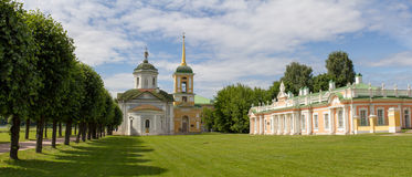 Parks Of Moscow. Noble estate Kuskovo. The Church and outbuilding. The photo was taken at the park Kuskovo. Panorama pieced together from multiple photos Stock Photography