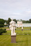 Parks Of Moscow. Noble estate Kuskovo. A view of the garden with sculptures and winter greenhouse. Royalty Free Stock Photos