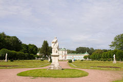 Parks Of Moscow. Noble estate Kuskovo. A view of the garden with sculptures and winter greenhouse. Stock Photography