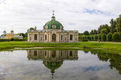 Parks Of Moscow. Noble estate Kuskovo. View of the pond and the Grotto. Stock Photo