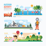 Parks and outdoor activityTemplate Design Infographic. Concept V stock illustration