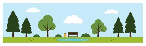 Parkscène met bank, vijver met eenden, bomen, struiken, vogels en wolken Stock Foto
