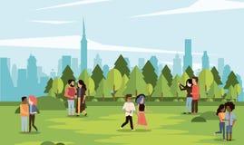 Parkscape με τα ζεύγη διανυσματική απεικόνιση