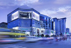 Parkson shopping mall at twilight, Kunming, China royalty free stock photos