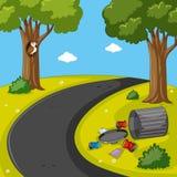 Parkszene mit Abfall auf dem Rasen lizenzfreie abbildung
